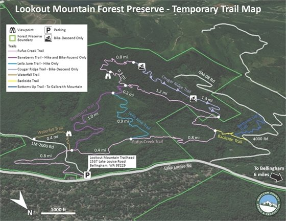 Lookout Mountain Forest Preserve - Temporary Trail Map